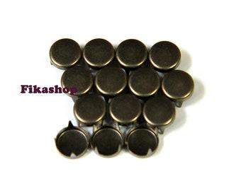 3mm 100pcs Brass flat head round studs / HIGH Quality -  Fikashop