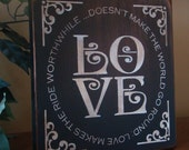Decorative LOVE primitive wooden sign
