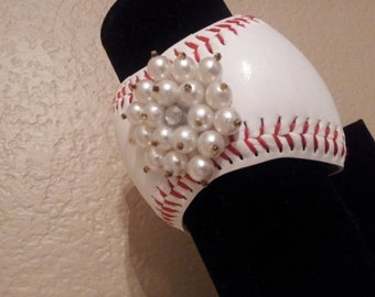 Baseball Cuff Bracelet -with added Bling