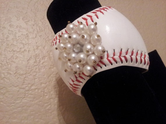 Baseball Cuff Bracelet -with added Bling