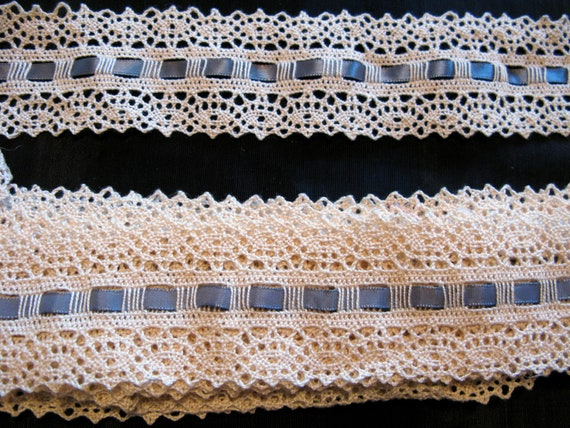 Antique Lace Trim Cotton Cluny 3 Yards Lace Bobbin Lace Ribbon Insert trim Needle Lace Ecru European Heirloom Vintage