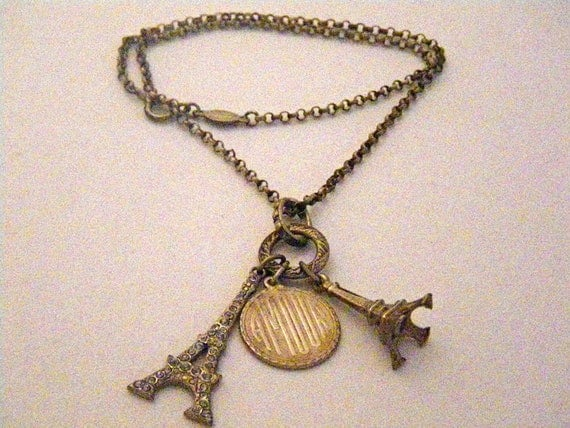 French Catherine Popesco Necklace w/ Eiffel Towers and Amour Pendants