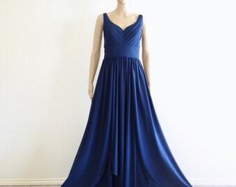 Navy Blue Prom Dress.Long Evening Dress.Bridesmaid Dress.Party Dress.Floor Length Dress.
