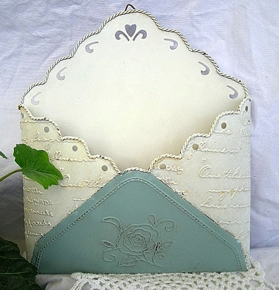 Mail Holder, Metal, Vintage Doily, Shabby Chic, Mail Holder, Wall hanging