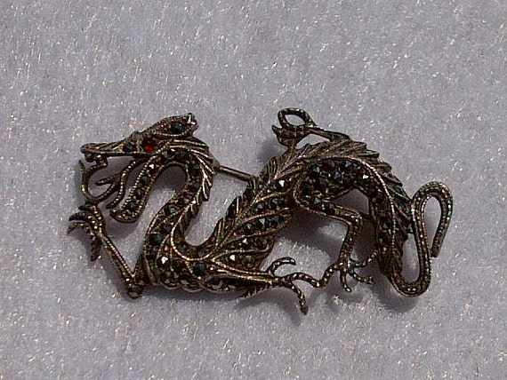 Dragon Brooch / Pin, Vintage Art Deco, Sterling Silver .925, Marcasite and Garnet Eye, Very detailed, Beautiful