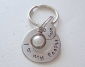 Aluminum Offset Washer Dog Tag with Wire Wrapped White Pearl