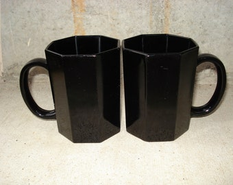 Vintage Arcoroc France Black Glass Mugs