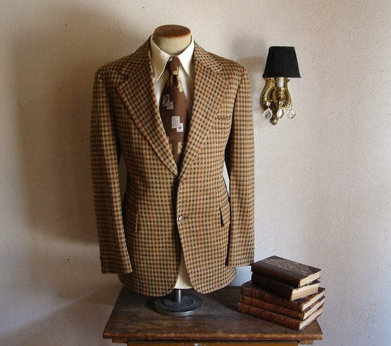 HOLD 70s Houndstooth Suit Jacket Mens Vintage Brown Polyester