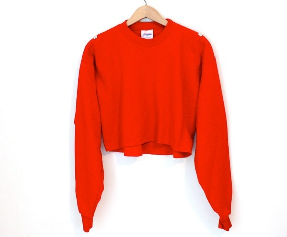 Red Cropped Sweatshirt with Studs