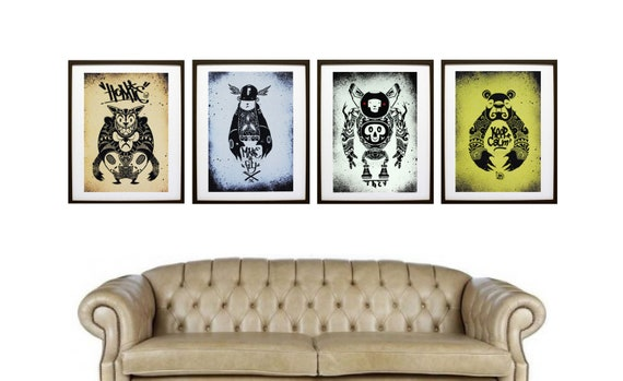 Art Print / Set of 4, A3 Archival / Homie, Make It Fly, Keep Calm, Robot