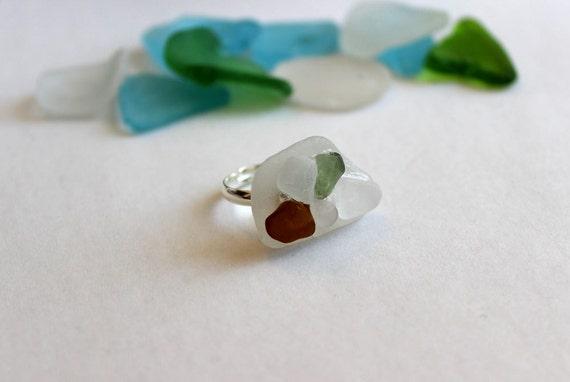 Layered Seaglass Ring - Trapezoid Mosaic - White, Green, Brown