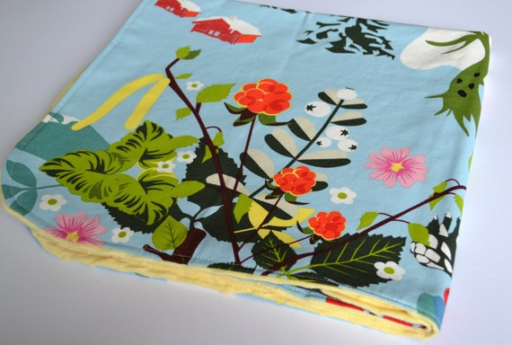 """Baby Blanket or Play Mat in Annamoa Fabric and Yellow Minky 35"""" x 36"""" with Rounded Edges"""