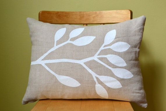 Hand Printed Linen Decorative Pillow Case in Our Summer Leaf Design in Oatmeal and White fits a 12 x 16 pillow form