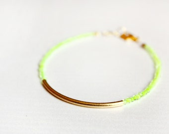 bar bracelet - neon gold friendship bracelet - minimal jewelry / gift for her