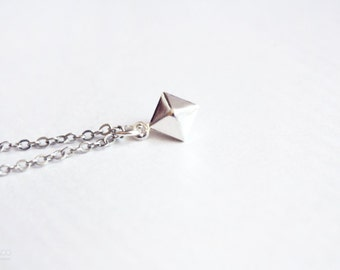pyramid - geometric dainty bracelet - minimalist silver jewelry / gift for her stocking stuffer