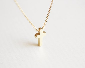 dainty gold cross necklace - delicate jewelry - gift for her under 20 usd