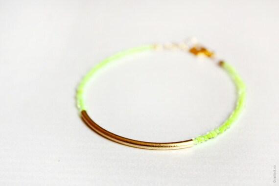 bar bracelet - neon gold friendship bracelet - minimal jewelry / gift for her
