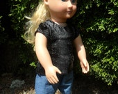 American Girl Doll T-shirt - black graffiti glitter T-shirt for American Girl or other 18 inch doll