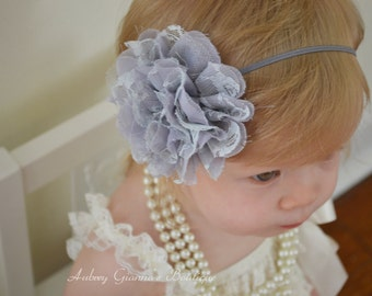 Baby Headband, Grey Flower Headband, Toddler Headband, Newborn headband, baby hair bow, Newborn photo prop, hair accessories.