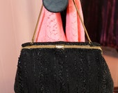 Vintage Black Beaded Clutch