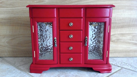 RESERVED FOR DAMAN UPcycled / Repainted Jewelry Box - Red