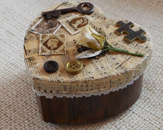OOAK Vintage Style Heart-Shaped Trinket JewelryBox - Hand Painted & Decorated - Embellished Top with Faux Wood Finish Sides - Altered Mixed