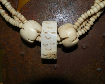Bone tribal vintage necklace