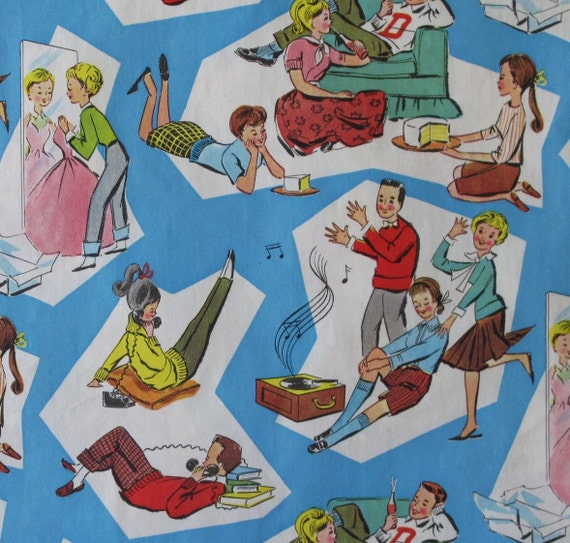 Vintage WHITMAN Festive JUVENILE Gift Wrap Wrapping Paper Teenagers 1950s