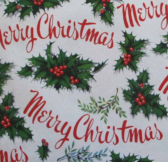 Vintage MERRY CHRISTMAS Gift Wrap Wrapping Paper with Matching Card - Holly Berry - 1950s