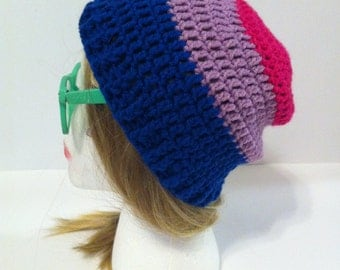 Slouch Hat - Pink - Purple - Blue  - Made to Order