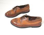 Vintage leather oxfords flat shoes brown swing unisex women size EU 39 US 8,5 also unisex