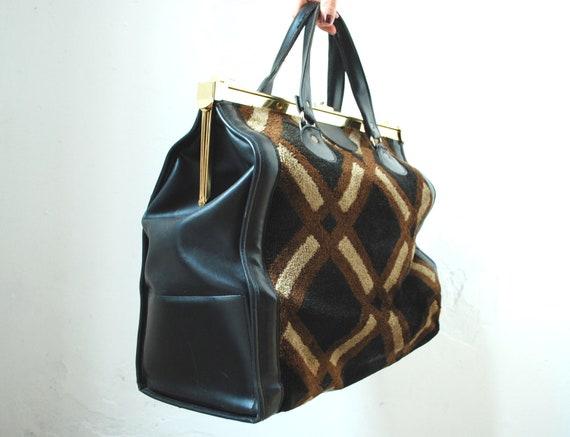 Vintage doctor bag vinyl carpet luggage bag black