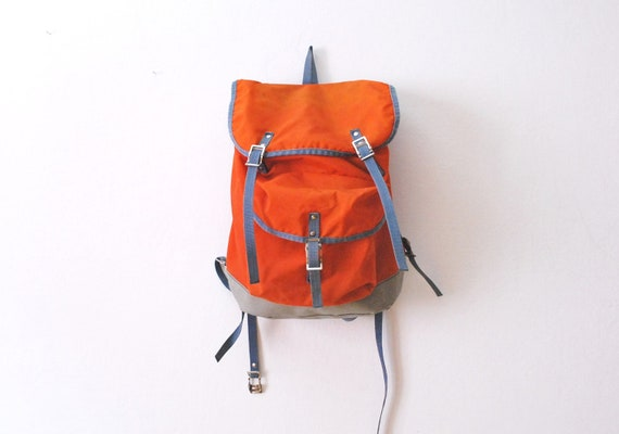 Vintage orange backpack messenger bag