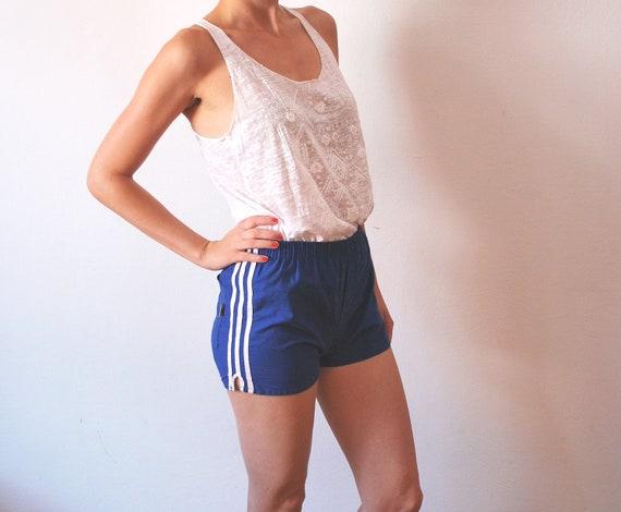 20% SALE Vintage sport shorts olympic games 70s blue white stripes women size XS S