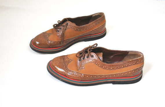 Vintage leather oxfords flat shoes brown swing unisex women size EU 39 US 8,5 also unisex