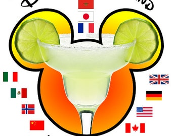 Disney Drinking Around the World EPCOT Mickey Margarita Custom Personalized Iron on Transfer Decal(iron on transfer, not digital download)