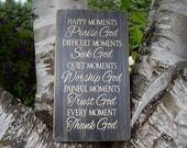 Inspirational Wall Art, Happy Moments Praise God, Religious Wall Art, Christian Home Decor, Wood Signs