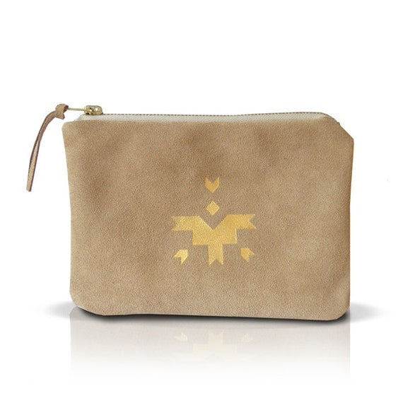Beige natural leather pouch, make up bag, mini clutch, hand painted