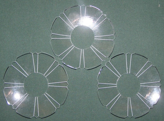 Lot of 3 Retro Syle Glass Bobeches for Candles or Lamps