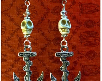 Rockabilly Ivory Skulls with Silver Anchors Dangle Earrings with Crystals by WATTO's Wife / FREE US shipping /Navy Jewelry/Nautical Earrings