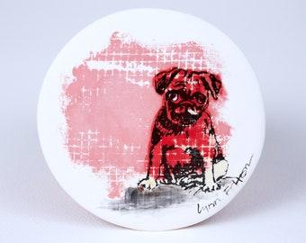 Pug Puppy Red Clay Ceramic Coaster