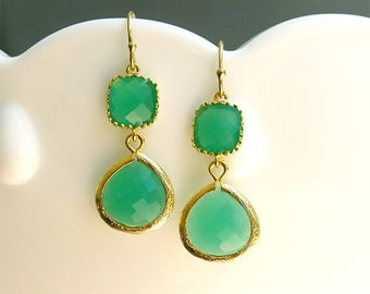 Kelly Green Dangle Earrings in Gold - Palace Green on Gold Filled Earwire - Gifts, Bridesmaid Earrings, Bridal