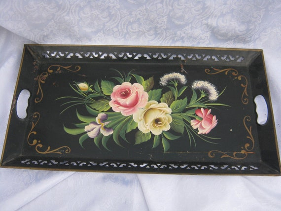 Black toleware metal tray with vintage floral painting