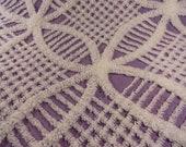 "DOWNSIZING SHOP SALE...Purple Lavender Chenille Wedding Ring Vintage Bedspread Fabric Piece...18  x  24"""