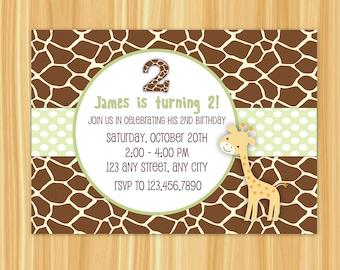 Giraffe Invitation | Giraffe Birthday Invitation | Giraffe Party | Giraffe Birthday Green and Brown Colors