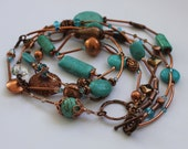 Copper and Turquoise Necklace, Double layer necklace featuring Swarovski crystals, turquoise and copper beads