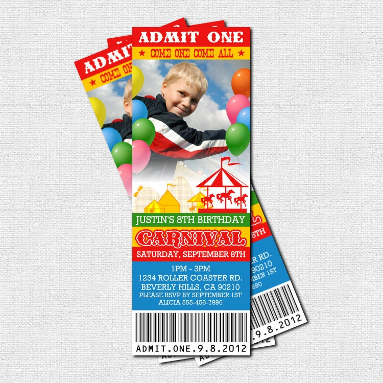 carnival ticket invitations circus birthday party by