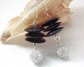 Black horn and pave crystal sterling silver boho earrings
