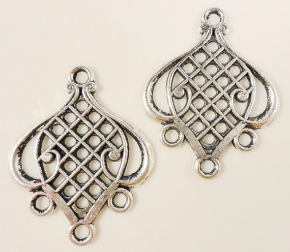 Chandelier Earring Connectors 30x24mm Antique Silver Tone Metal Earring Findings 3 Pairs (6pcs)