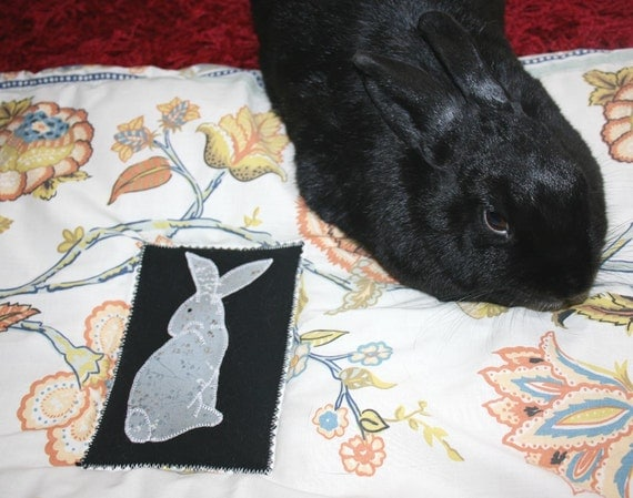 large Bun-velope - soft carrier liner for rabbits quilted floral brown blue green orange print fabric